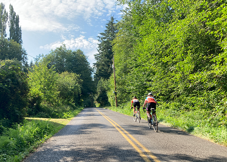 Two people bicycling in the right lane of a two lane road in a rural setting with no cars visible